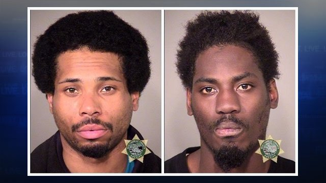 PPB officers arrested Ahad Muhammad, 28, and Melvin James Williams, 29, after witnesses say the two pointed Airsoft guns at customers outside a 7-11 store. (Multnomah County Jail)
