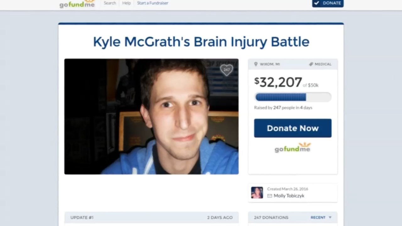 The family of Kyle McGrath is raising funds to help the Michigan man who still in a coma 4 weeks after being hit by a car in Portland while visiting for his sister's wedding. (KPTV)
