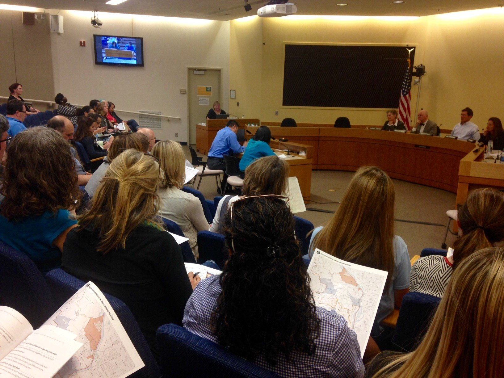 Parents and community members at a public hearing over PPS boundary changes Wednesday.