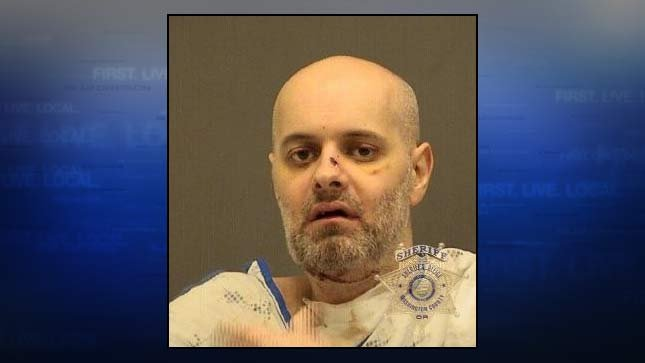 Daniel Wyant, 2014 jail booking photo. Investigators said he shot himself under the chin after shooting and killing his ex-girlfriend.