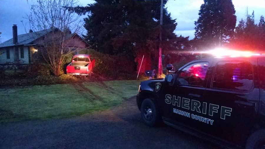 Scene of crash where Salem burglary suspect was taken into custody. (Photo: Marion County Sheriff's Office)