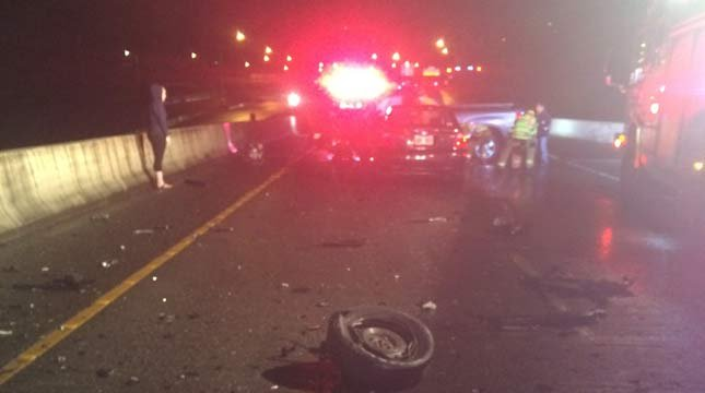 Deadly crash scene on I-5 flyover ramp to Hwy 217. (Photo: Tigard PD)