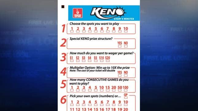 Oregon Lottery Keno game ticket (Image: Oregon Lottery)