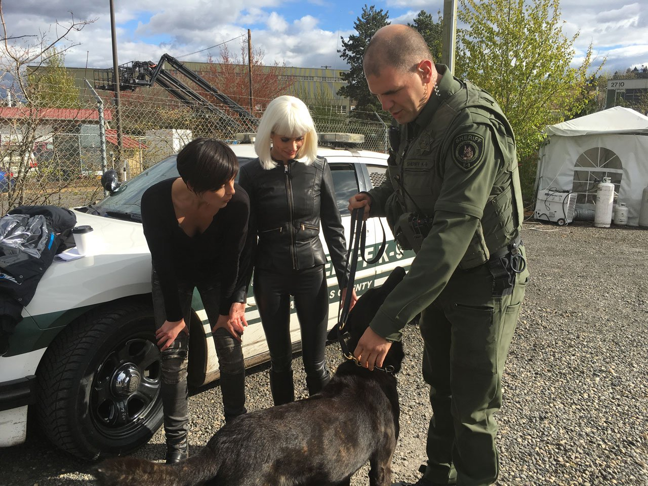 "K-9 Officer Grimm and Deputy Erik McGlothin met with the cast of the TV show ""Grimm"" recently on the show's Portland set. (Clackamas County Sheriff's Office)"