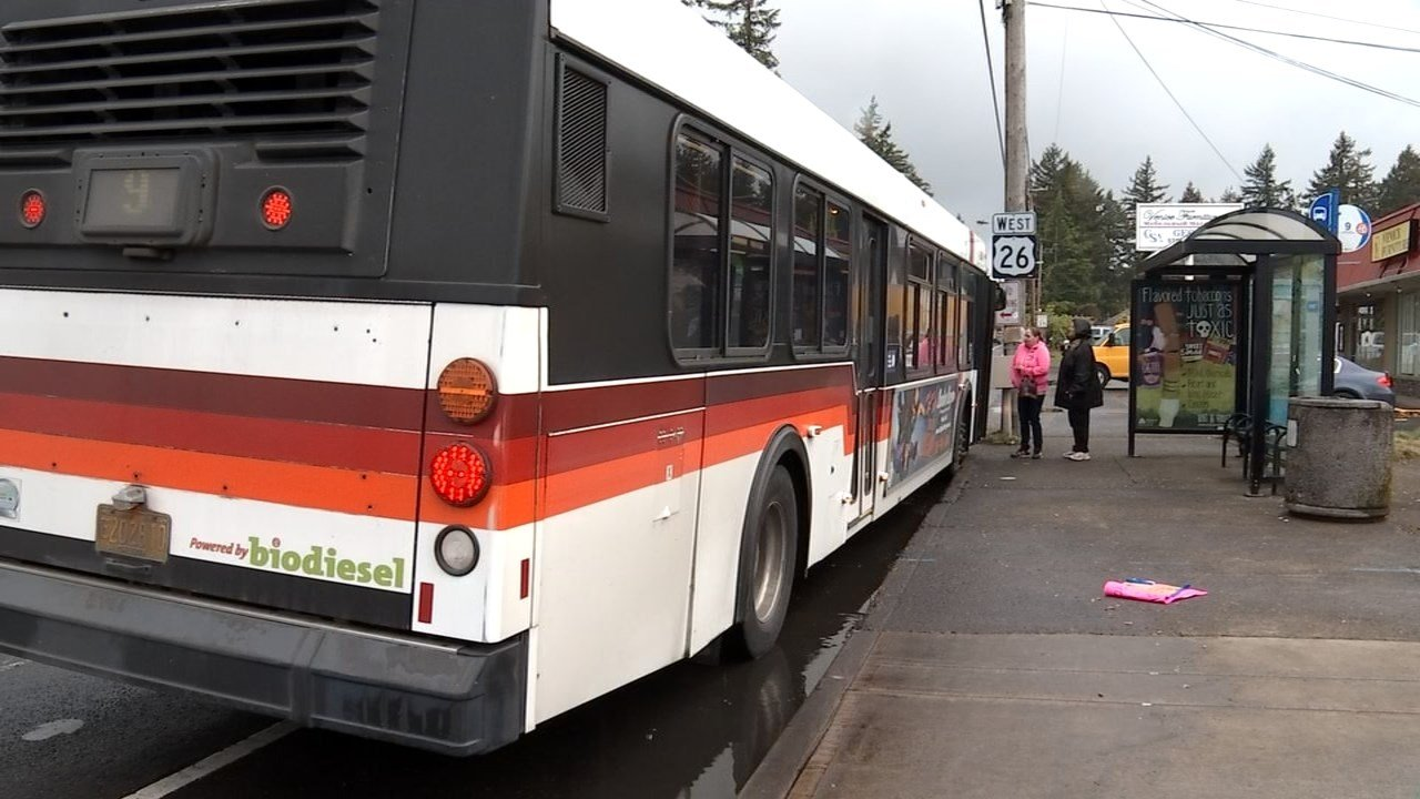 TriMet bus at Southeast 122nd and Powell Boulevard where a bus driver was punched in the face Monday morning.
