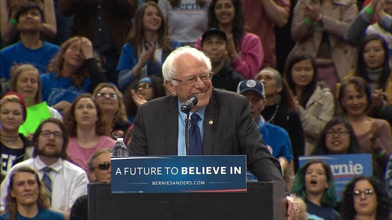 Bernie Sanders at Moda Center rally in Portland last month.