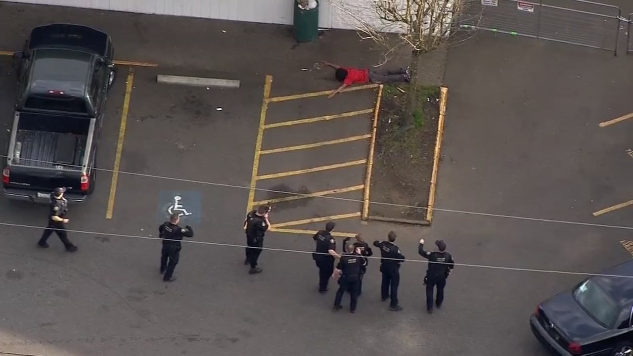 Arrest of suspect in connection with shooting in NE Portland on Monday. (Air 12 image)