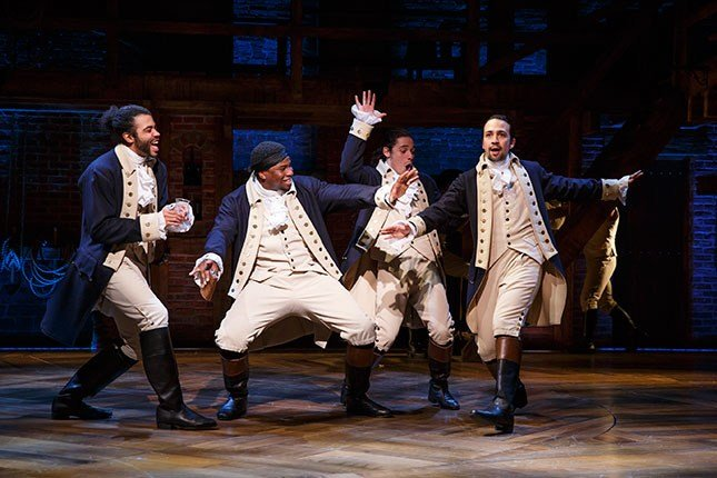 "Daveed Diggs, Okieriete Onaodowan, Anthony Ramos, and Lin-Manuel Miranda in ""Hamilton."" (Photo: Joan Marcus)"