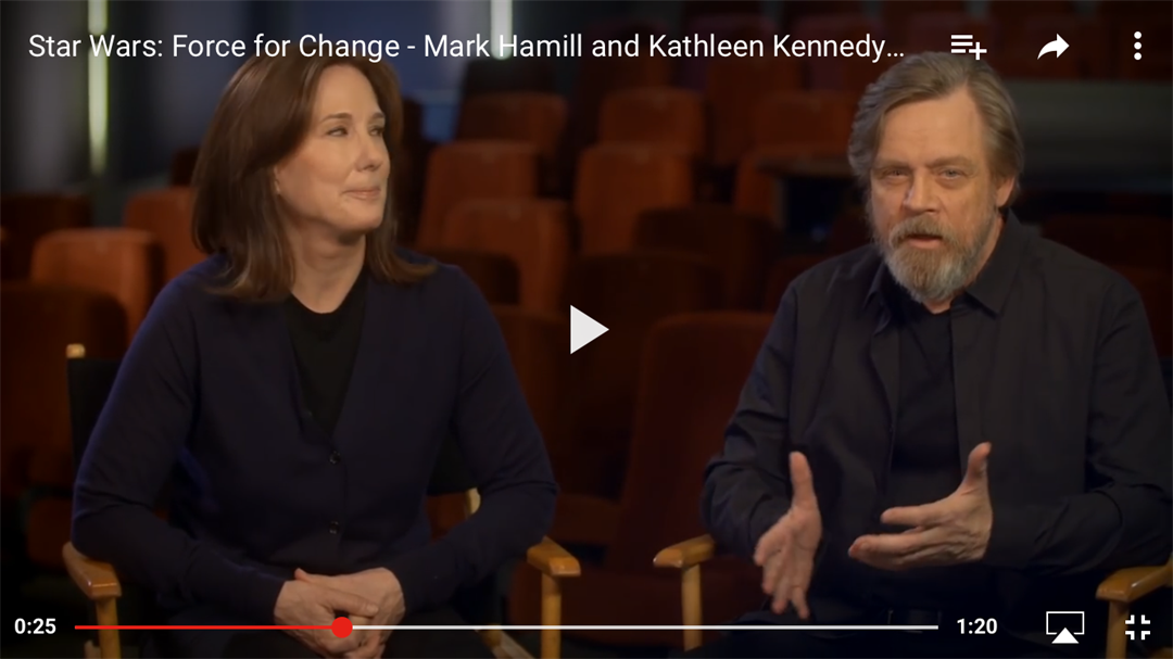 Lucasfilm's Kathleen Kennedy and actor Mark Hamill announce a new donation-matching campaign as part of the company's Force for Change imitative. (Lucasfilm)