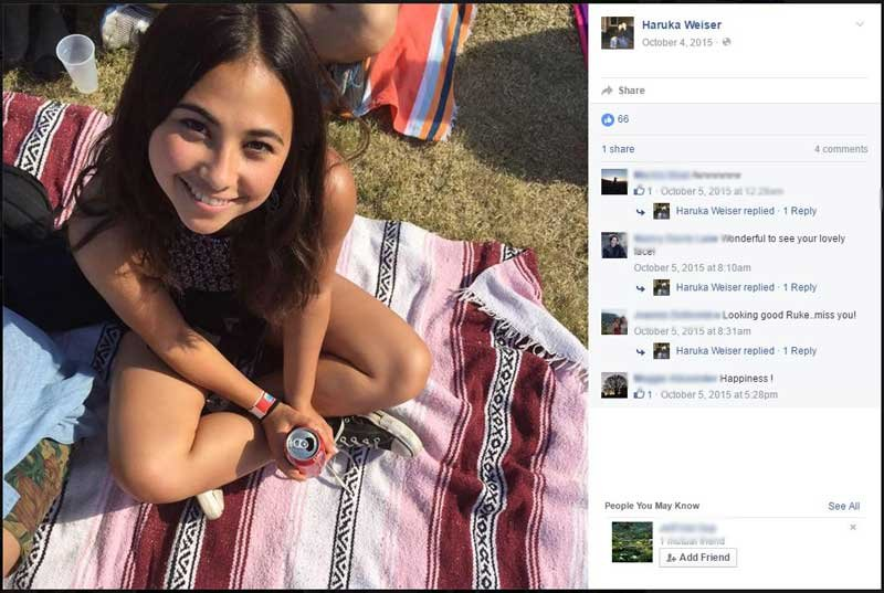 Portland teen Haruka Weiser has been identified as the student found on the University of Texas campus earlier this week. (Facebook)