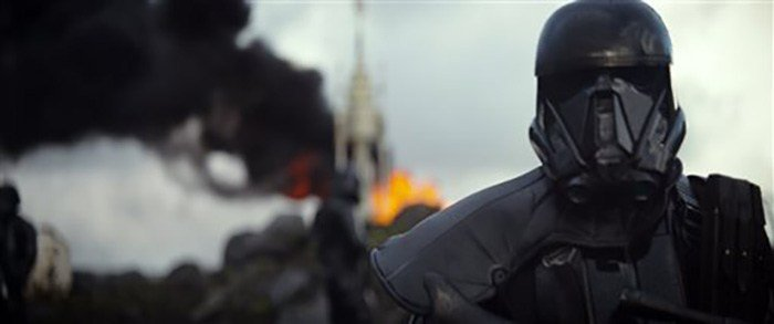 """(Disney via AP). This image released by Disney shows a scene from the upcoming film, """"Rogue One: A Star Wars Story."""" The world got a glimpse of """"Rogue One: A Star Wars Story"""" in teaser trailer that debuted Thursday, April 7, 2016 on Good Morning America"""