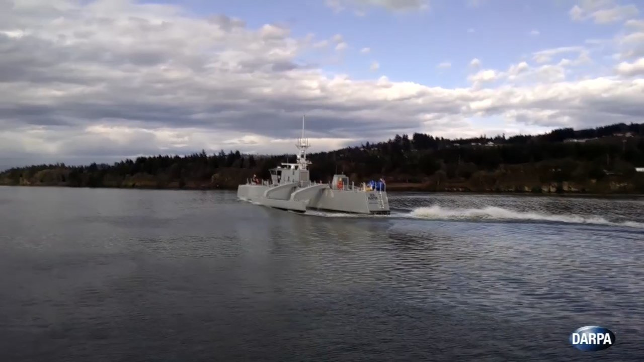 """DARPA unveiled a new unmanned watercraft called the """"Sea Hunter"""" in Portland Thursday. (KPTV)"""