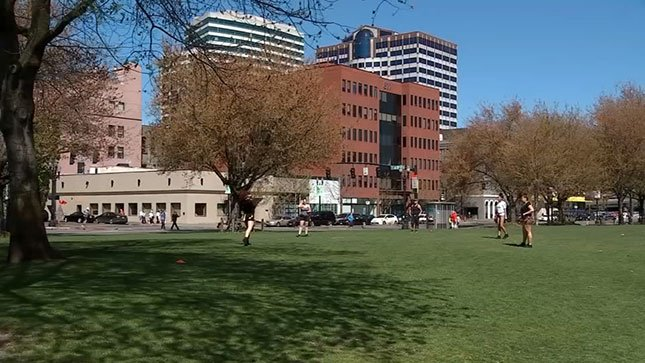 Many people were on the south waterfront in downtown Portland taking advantage of the beautiful blue skies and bright sunshine.