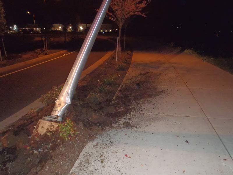 A hit-and-run driver slammed into a light pole outside the Home Depot in Sherwood late Thursday night. (Photo: Sherwood PD)