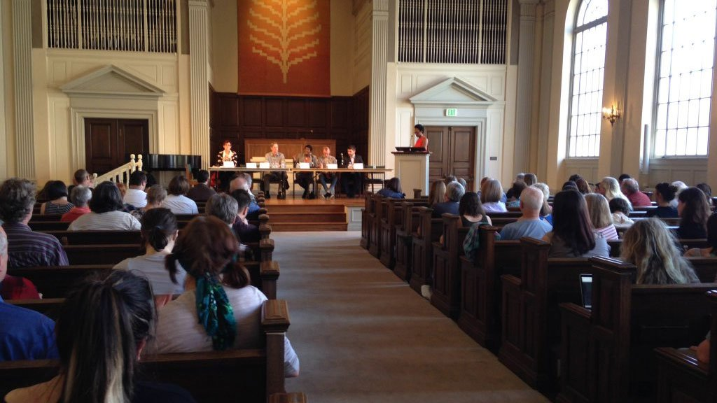 Portland mayoral candidates met Friday at Eliot Chapel of the First Unitarian Church to talk about the city's housing crisis. (Mega Sugianto/KPTV)