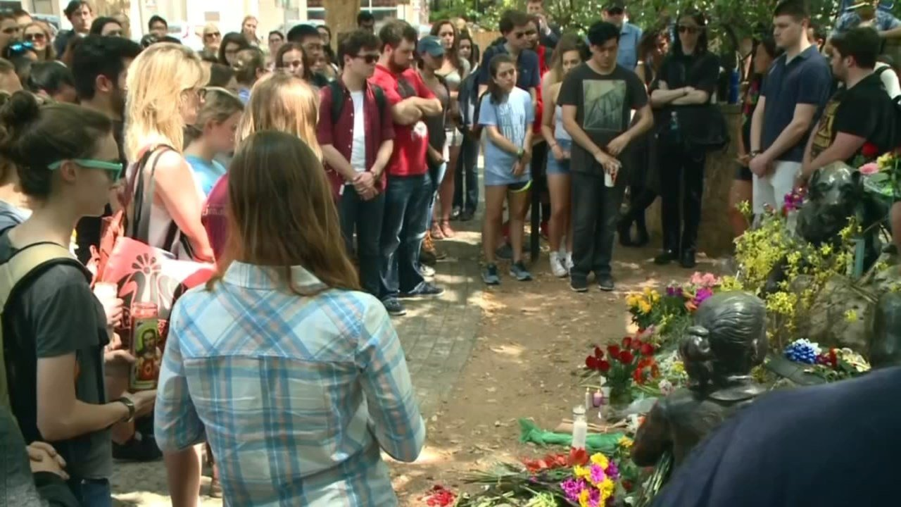 Memorial for Haruka Weiser on the University of Texas campus. (KPTV)