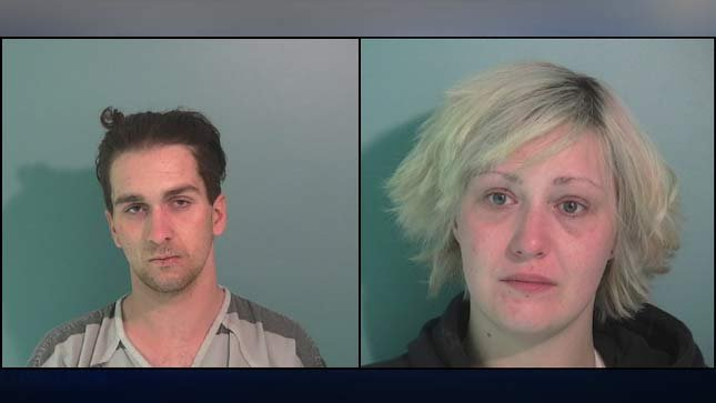 Jail booking photos for Jeffery Rodgers and Morgan Swyers.