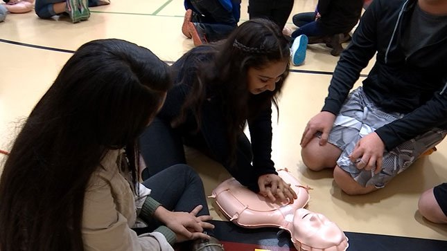 Students at Five Oaks Middle School in Beaverton were able to get CPR training on Tuesday.