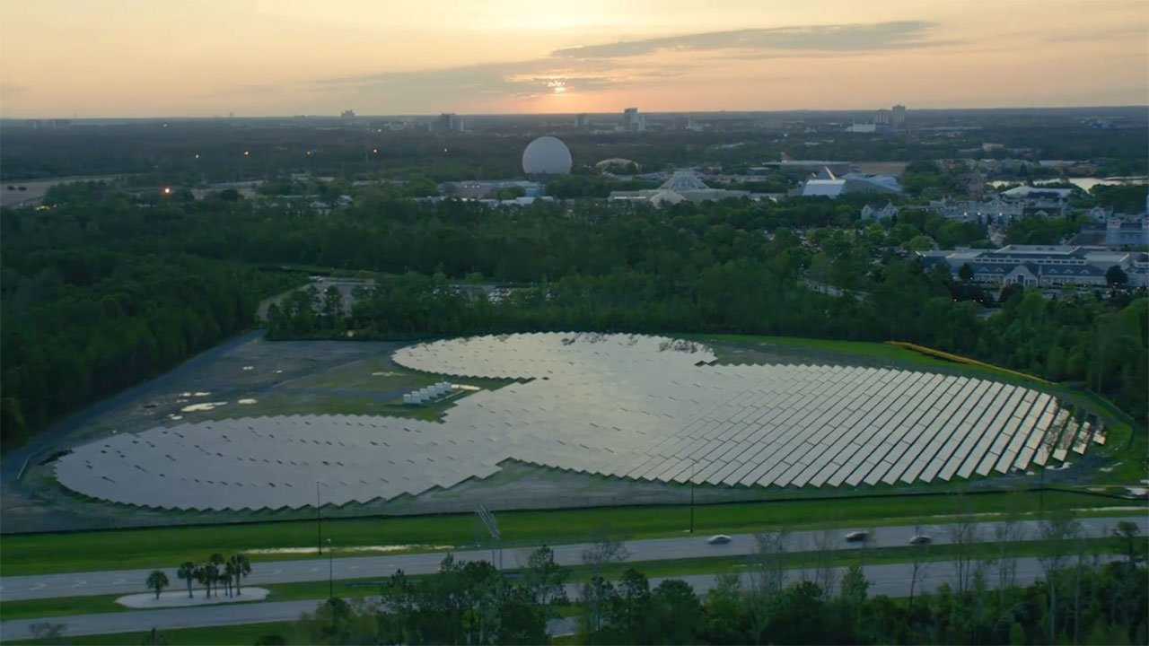 A new array of 48,000 solar panels shaped like Mickey Mouse will power multiple hotels at Walt Disney World. (Duke Energy)
