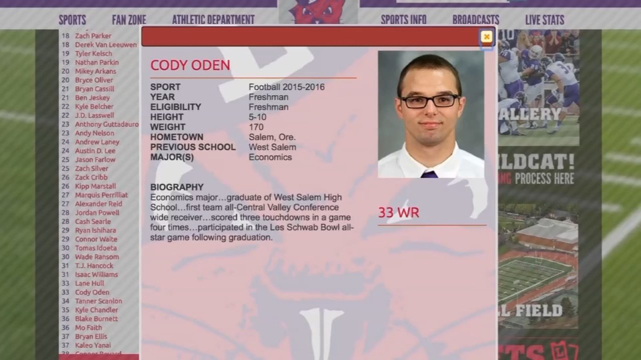 Relatives identified the student as Cody Oden, 20, a wide receiver on the college football team. (Image: Linfield.edu)