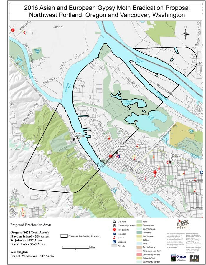 Gypsy moth spray area. (Map: Oregon Department of Agriculture)