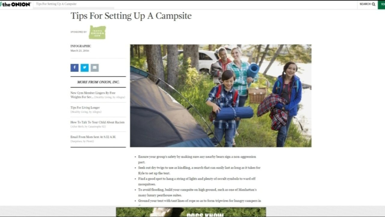 Satirical article on The Onion sponsored by Travel Oregon. (KPTV)