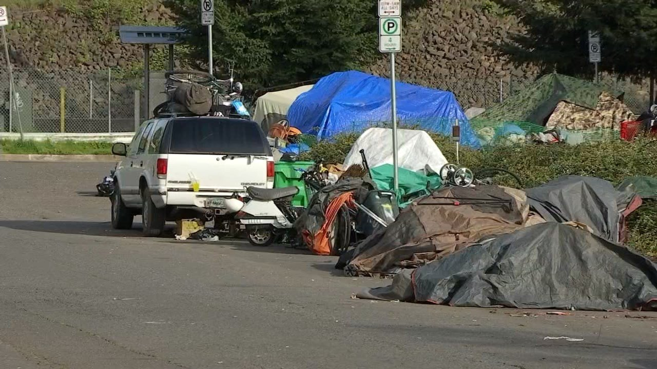 Homeless camp in the area of SE 92nd and Flavel. (KPTV)