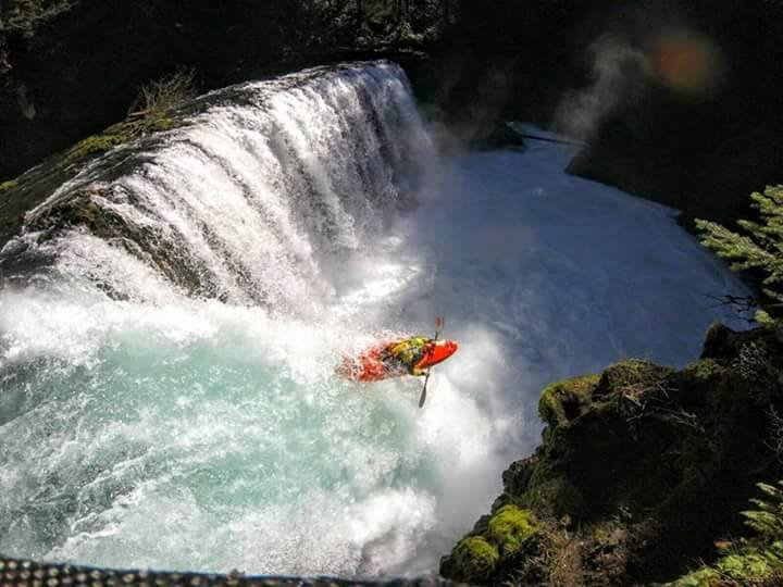 German kayaker Pirmin Dlugosch going down Spirit Falls last week, before his incident on the Little White Salmon River. (Adrian Mattern)