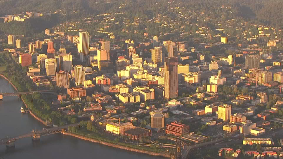 An aerial view of downtown Portland from AIR 12