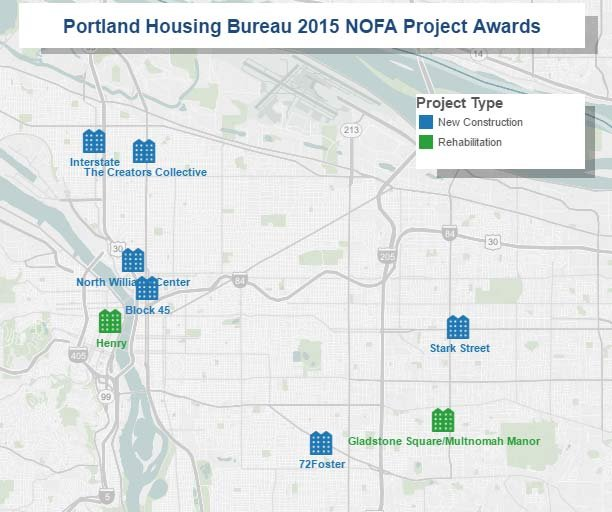 Affordable housing projects that will receive $47 million in funding from the Portland Housing Bureau. (Image: Portland Housing Bureau)