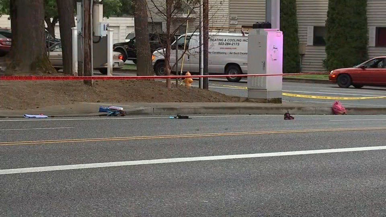 "Investigators said the two girls were in a marked crosswalk at Northeast Kane Drive and 1st Street at with a ""walk"" sign when they were hit by a flower deliver van. (Source: KPTV)"