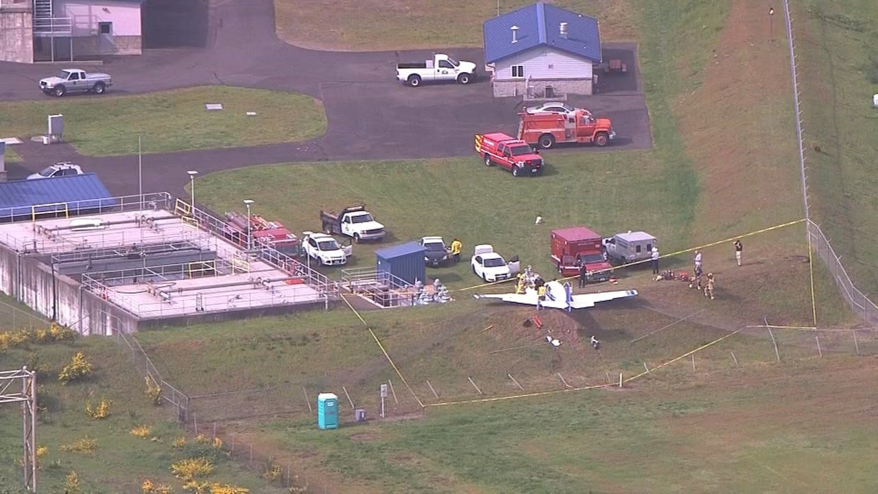 Crews from Clark Co. Fire and Rescue responded to the single-engine plane crash at the Woodland airport Thursday. (KPTV/Air 12)