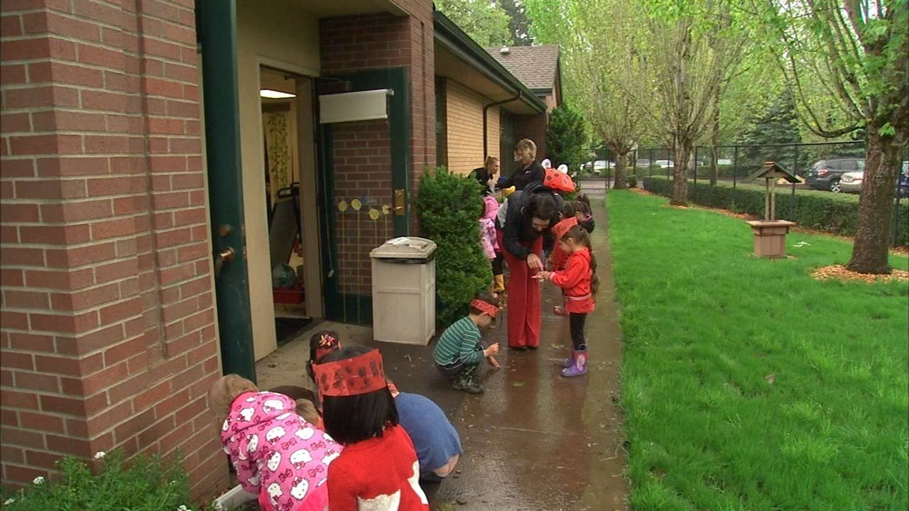 Students at Touchstone Preschool release lady bugs in honor of Earth Day