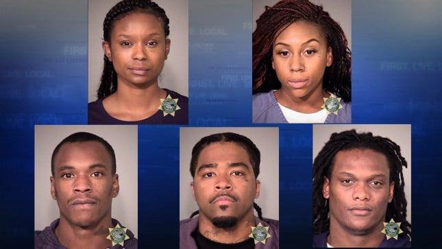 Mugshots: Brenea Williams, Sequoia Turner, Clemeth Porter, Jaronn Moody, and Brandon Johnson (Courtesy: Portland Police)