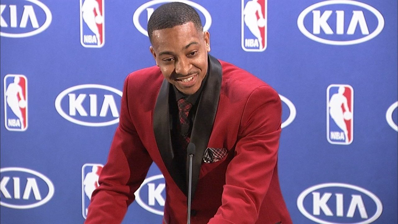C.J. McCollum accepting the NBA's Most Improved Player award.