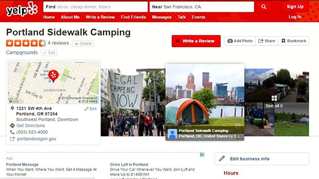 "Reviews of ""Portland Sidewalk Camping"" on Yelp."