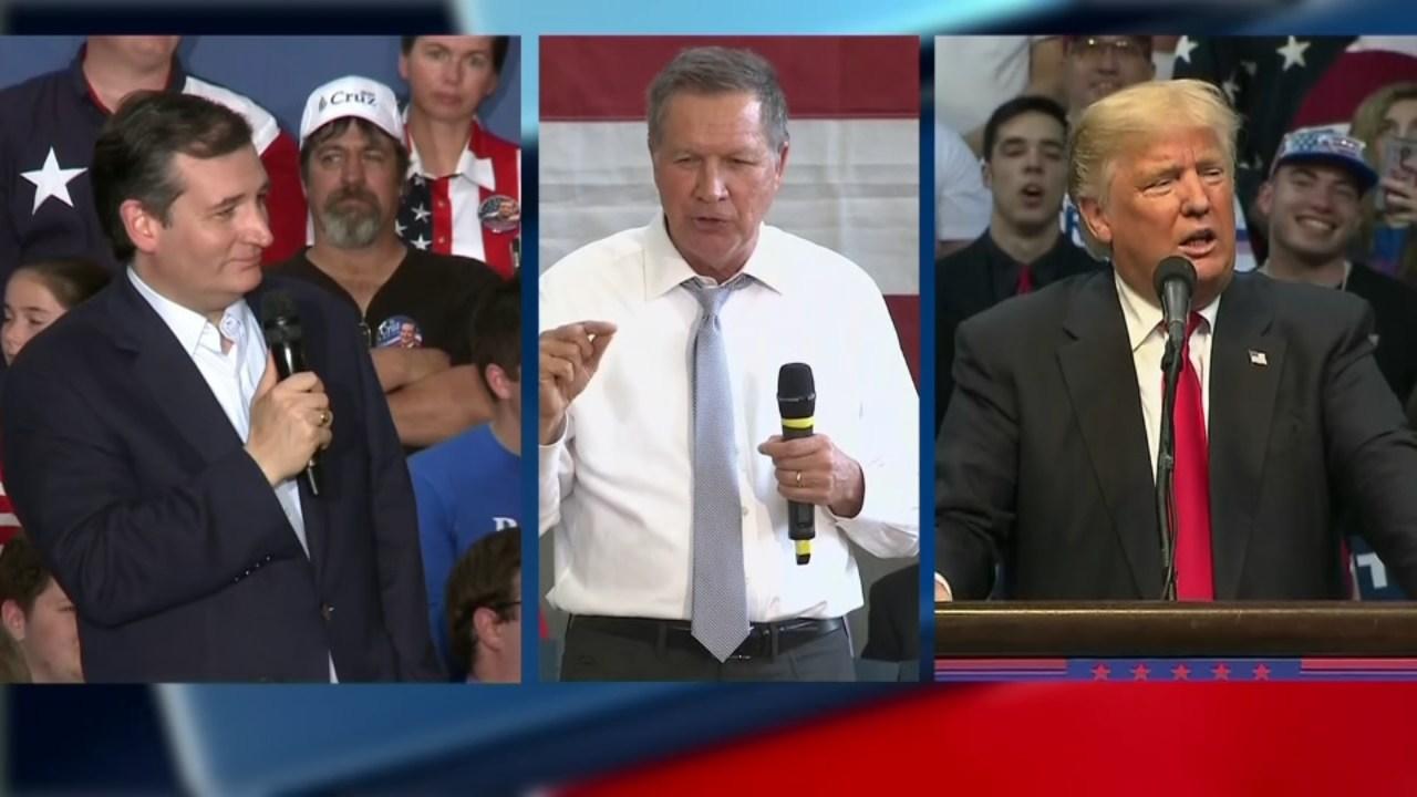 Republican presidential candidate's Ted Cruz, John Kasich and Donald Trump (KPTV)