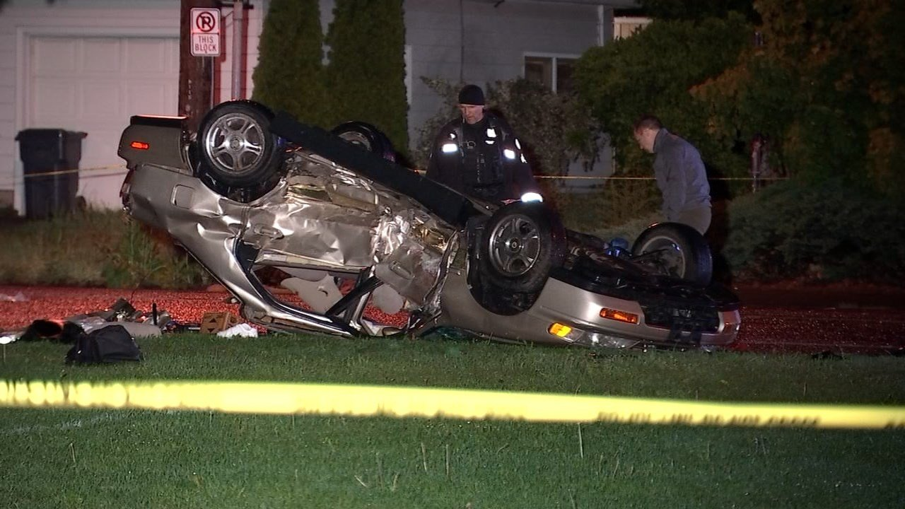 A passenger in a stolen Honda Civic died after a crash in southeast Portland, according to police. (Source: KPTV)