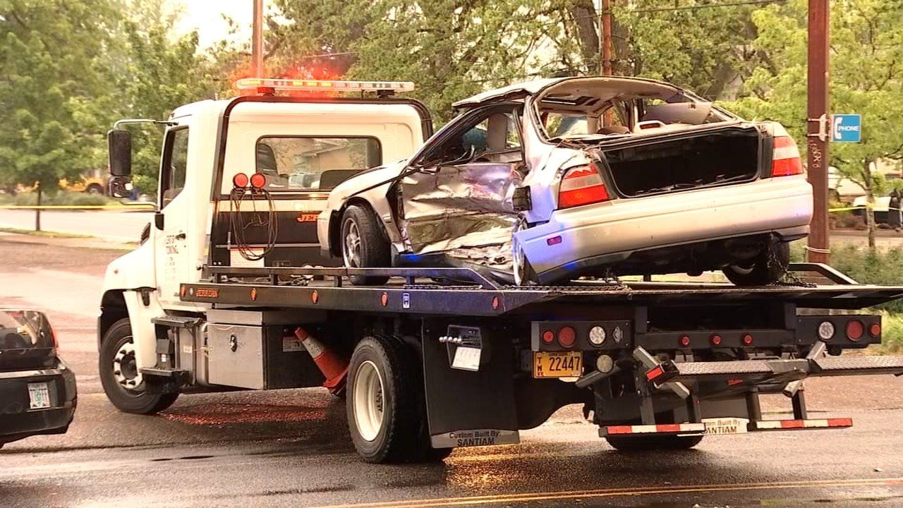 Police said the driver of the stolen car was also seriously injured. (Source: KPTV)