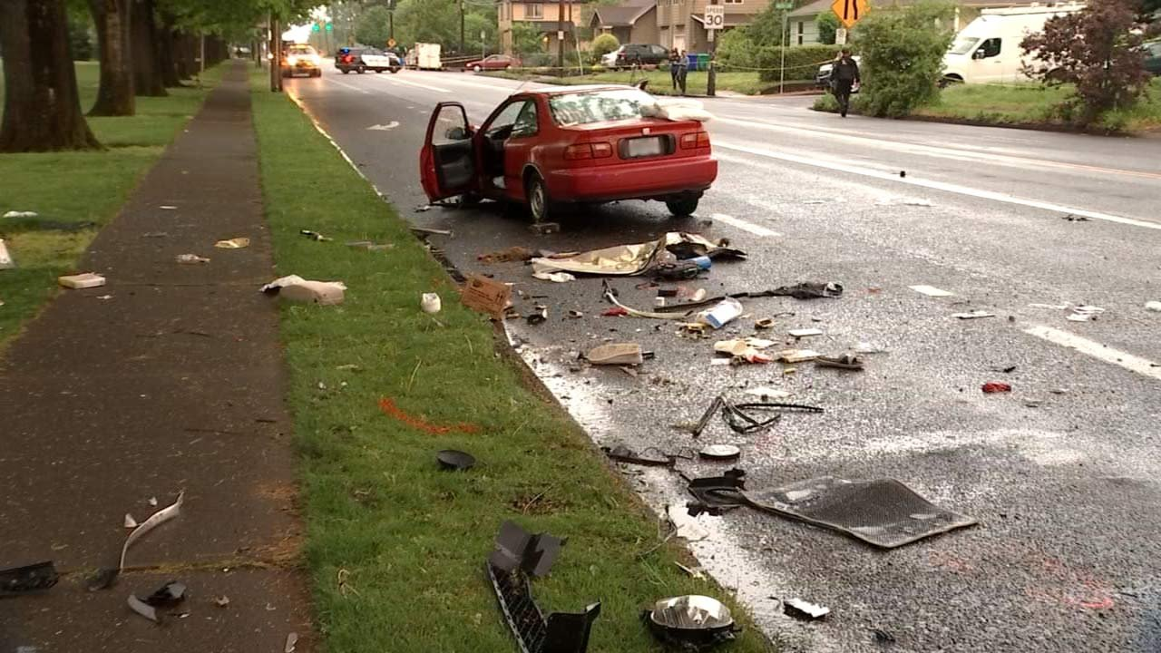 The driver of another car suffered serious injuries in the crash, as well. (Source: KPTV)