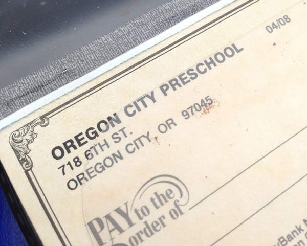 Checkbook for the Oregon City Preschool recovered from a stolen safe found near the Clackamas County Justice Court. (Photo: Clackamas Co. Sheriff's Office)