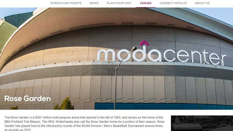Screenshot of the Moda Center website with the 'Rose Garden Forever' extension installed.