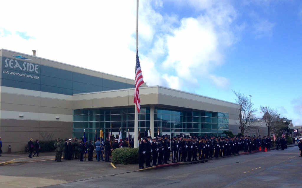 Officers line up at the Seaside Convention Center for Sergeant Goodding's memorial service in February. Photo from the Seaside Police Department.