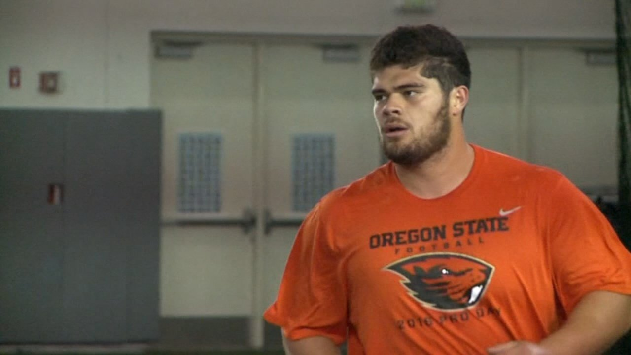 Former Beaver offensive lineman Isaac Seumalo drafted by the Philadelphia Eagles on Friday (KPTV)