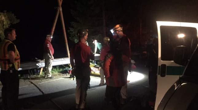 A man died after climbing over a guardrail and falling 180 feet trying to jump for a tree branch to reach a ledge in the Gifford Pinchot National Forest on Sunday night. (Photo: Skamania Co. Sheriff's Office)