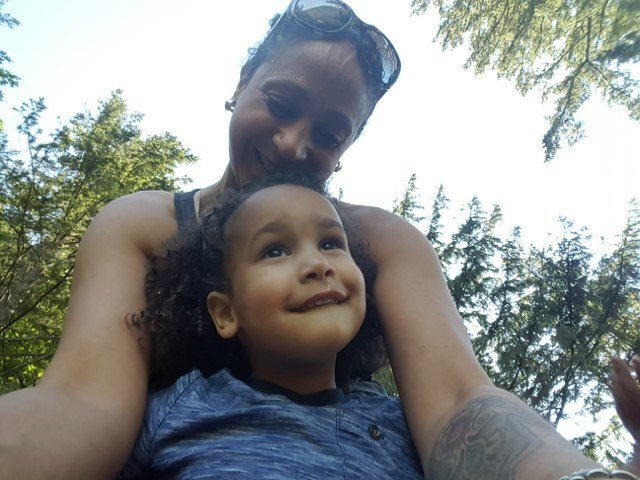 Stephanie Cohen with her son on the trail just before the accident Sunday. (Cohen Family)