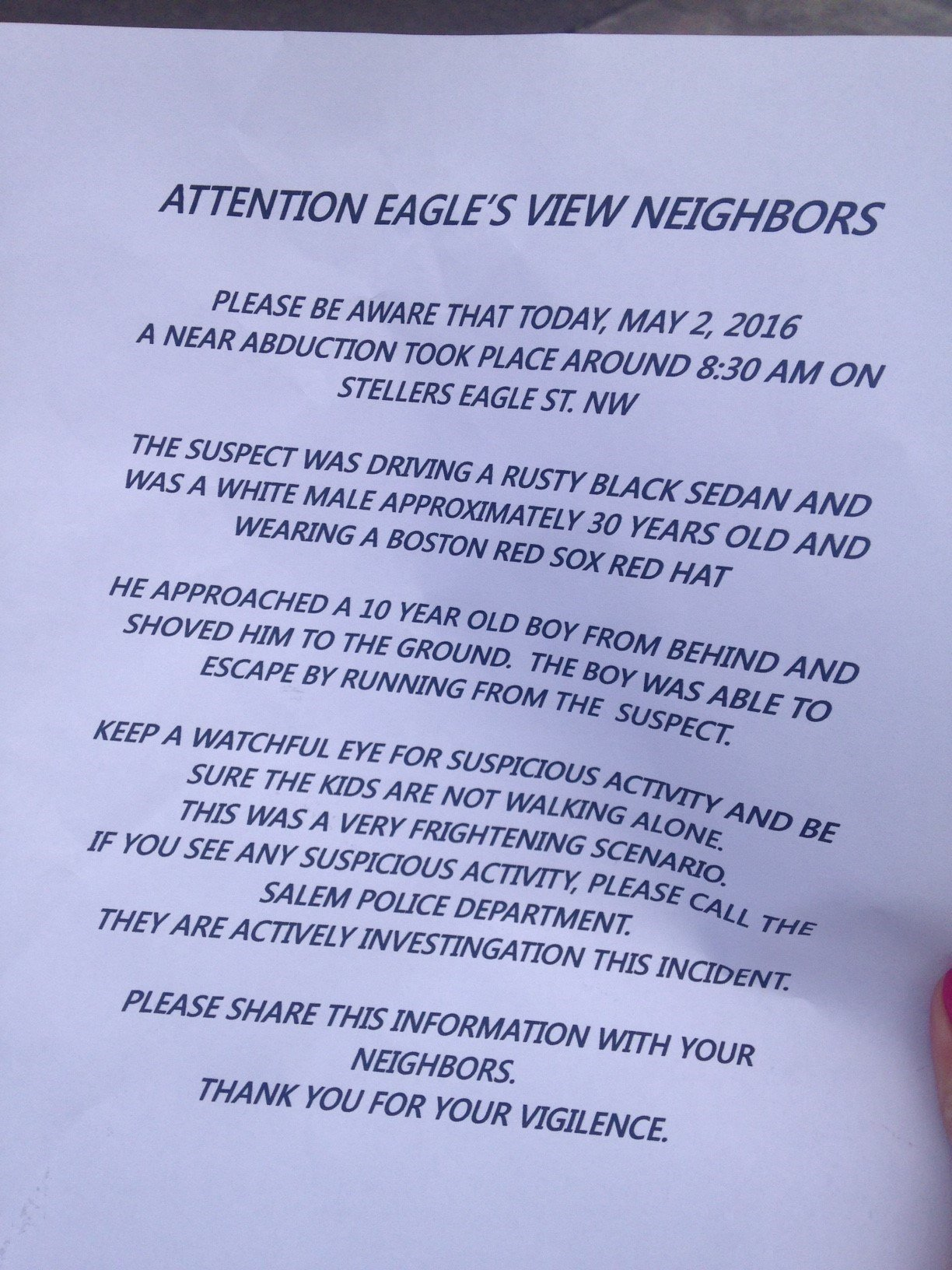 The flyer some neighbors came home to in the neighborhood where a boy reported a stranger grabbed him. (KPTV)