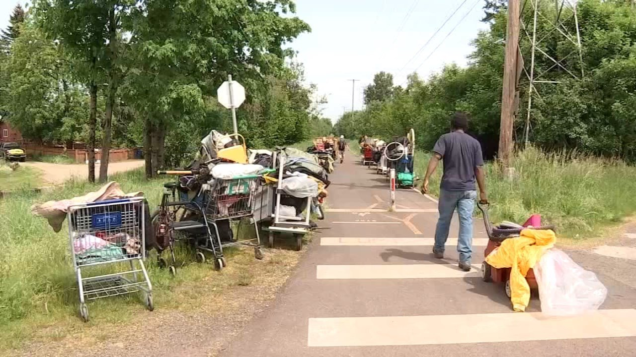 Homeless camps along the Springwater Corridor were cleared out Tuesday. (Source: KPTV)