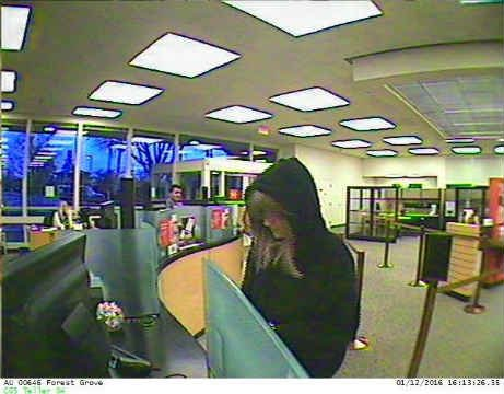 Surveillance of Forest Grove bank robbery suspect released by police in January.