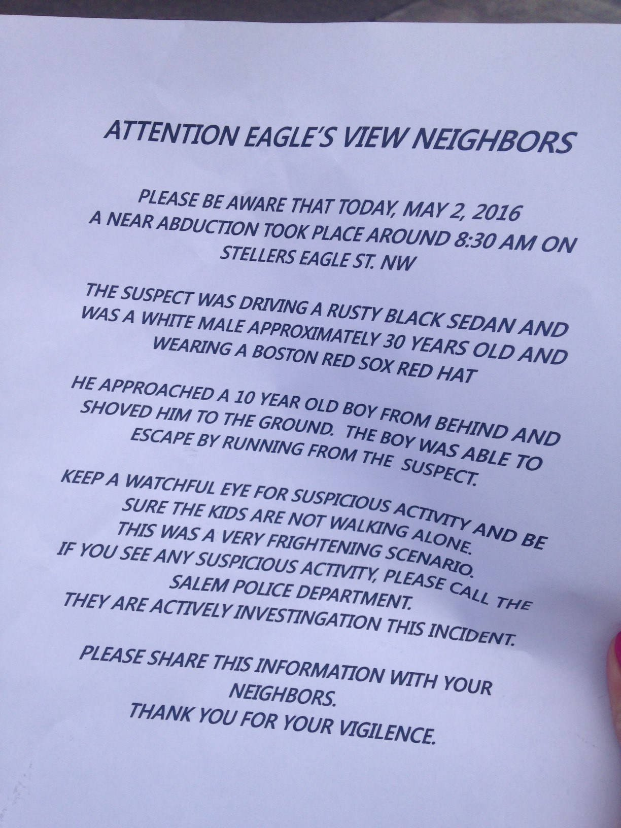 Flier distributed in Salem neighborhood after a boy falsely reported being grabbed by a stranger. (Source: KPTV)